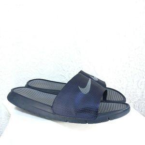 B54 Nike Benassi Slides Size 12 Blue Grey